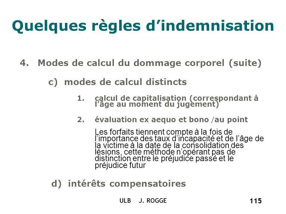 115 ULB J. ROGGE 115 Quelques règles dindemnisation 4.Modes de calcul du dommage corporel (suite) c) modes de calcul distincts 1.calcul de capitalisat