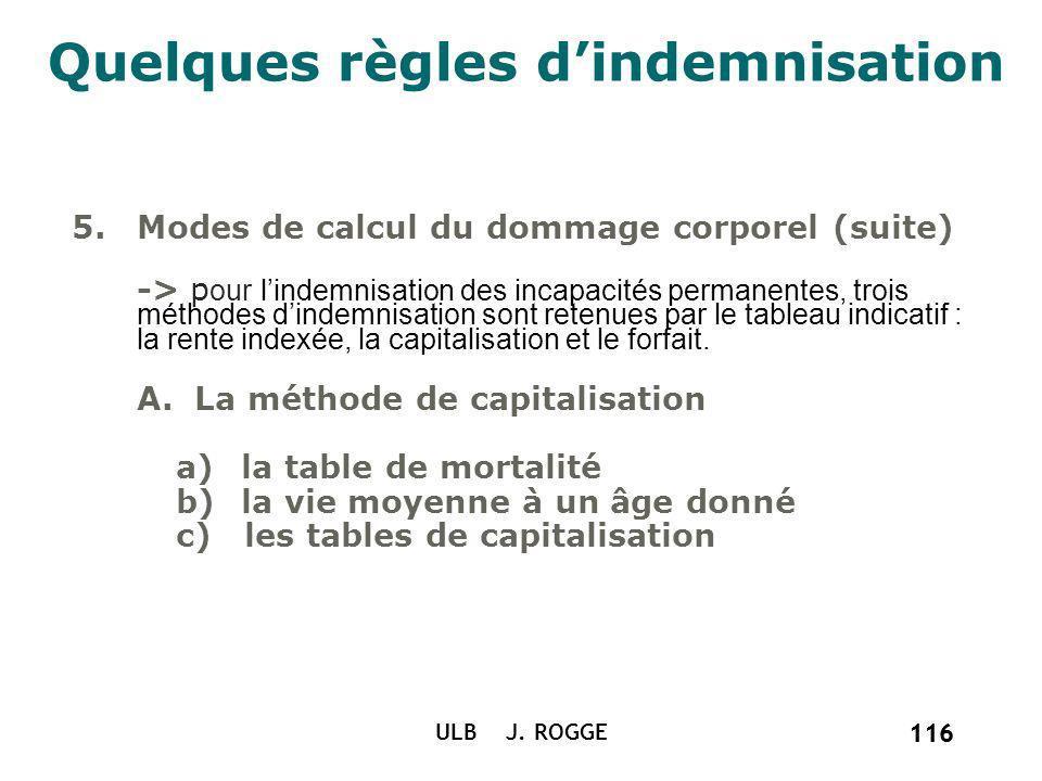 116 ULB J. ROGGE 116 Quelques règles dindemnisation 5.Modes de calcul du dommage corporel (suite) -> p our lindemnisation des incapacités permanentes,