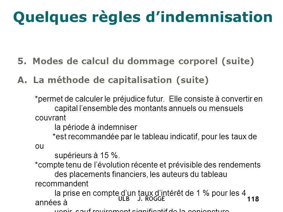 118 ULB J. ROGGE 118 Quelques règles dindemnisation 5. Modes de calcul du dommage corporel (suite) A. La méthode de capitalisation (suite) *permet de