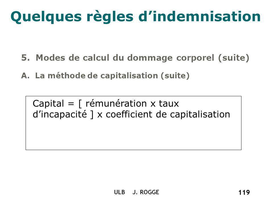 119 ULB J. ROGGE 119 Quelques règles dindemnisation 5. Modes de calcul du dommage corporel (suite) A. La méthode de capitalisation (suite) Capital = [
