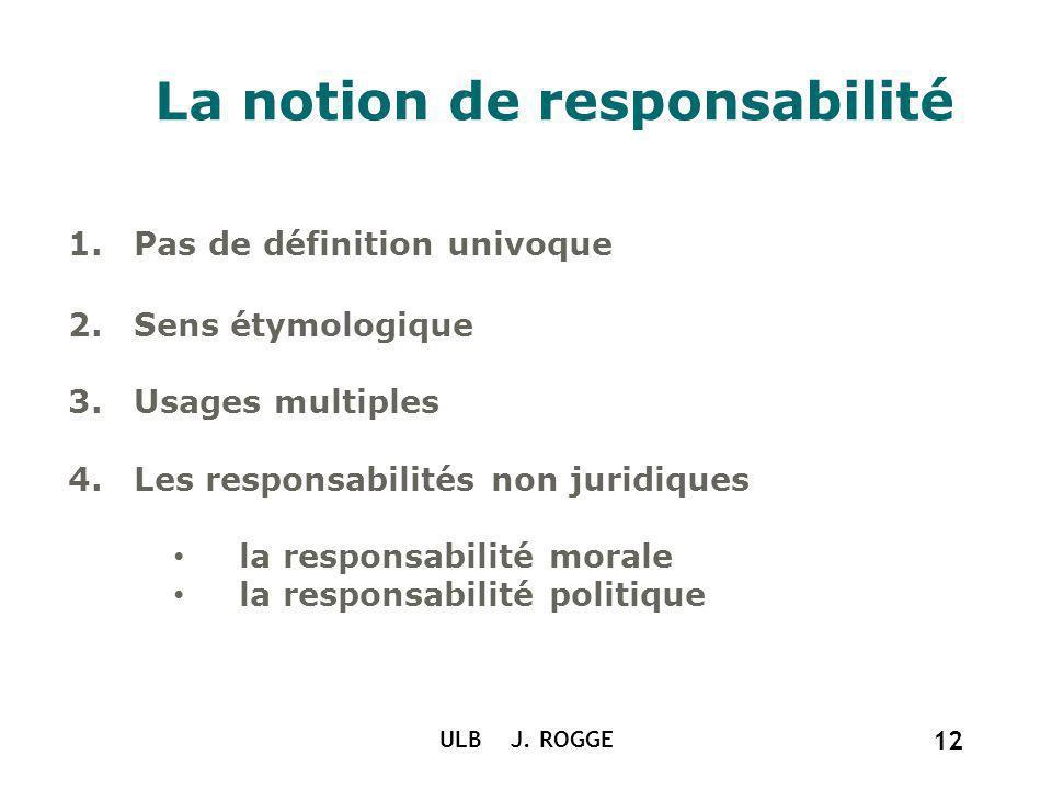 ULB J. ROGGE 12 La notion de responsabilité 1.Pas de définition univoque 2.Sens étymologique 3.Usages multiples 4.Les responsabilités non juridiques l
