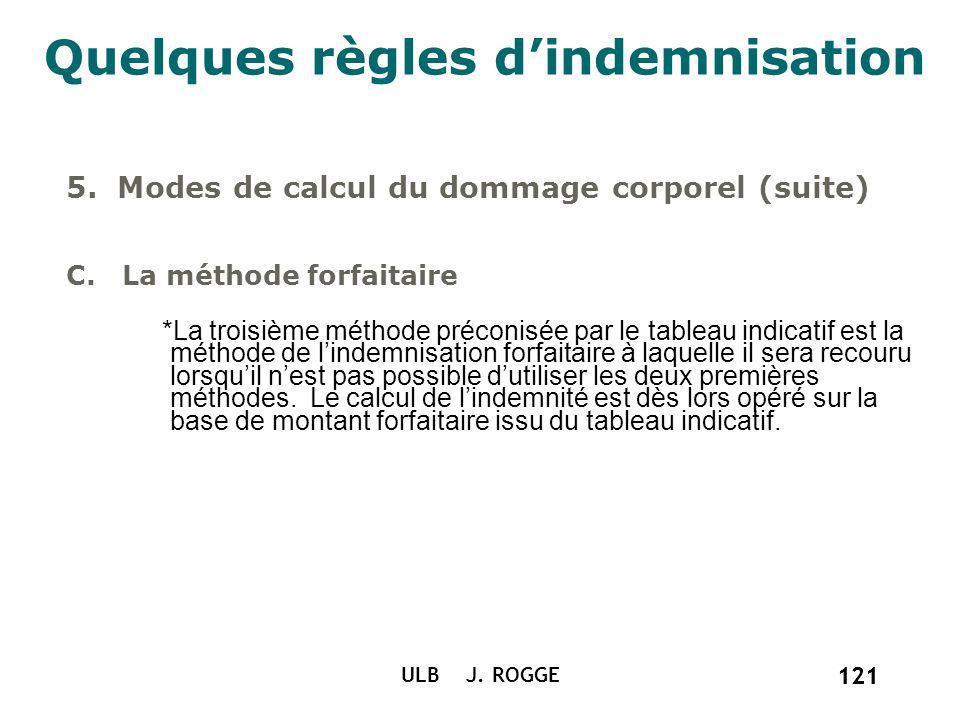 121 ULB J. ROGGE 121 Quelques règles dindemnisation 5. Modes de calcul du dommage corporel (suite) C. La méthode forfaitaire *La troisième méthode pré