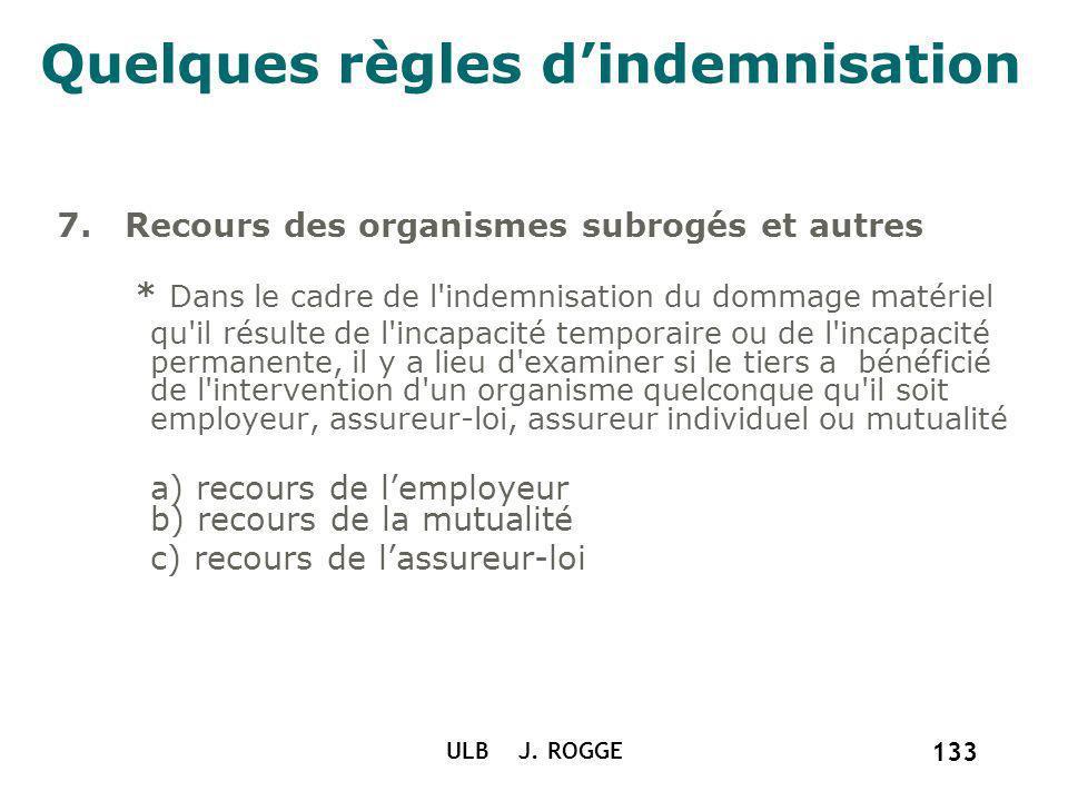 Quelques règles dindemnisation 7. Recours des organismes subrogés et autres * Dans le cadre de l'indemnisation du dommage matériel qu'il résulte de l'
