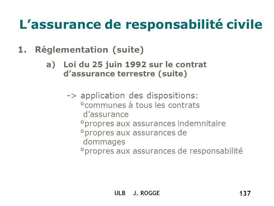 ULB J. ROGGE 137 Lassurance de responsabilité civile a)Loi du 25 juin 1992 sur le contrat dassurance terrestre (suite) -> application des dispositions