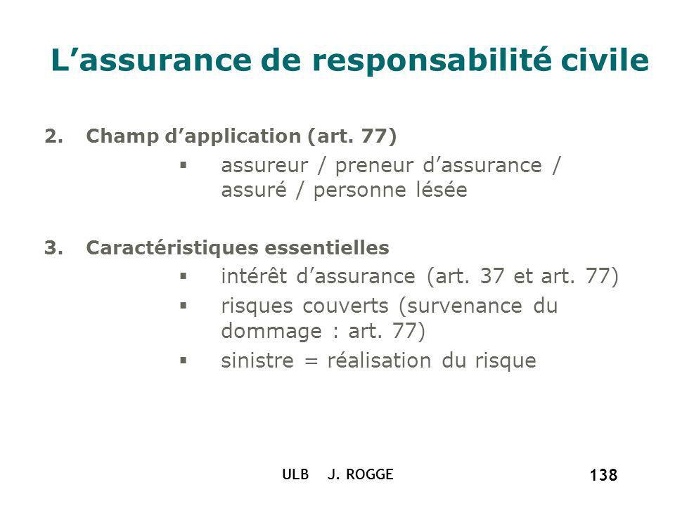 ULB J. ROGGE 138 Lassurance de responsabilité civile 2.Champ dapplication (art. 77) assureur / preneur dassurance / assuré / personne lésée 3.Caractér