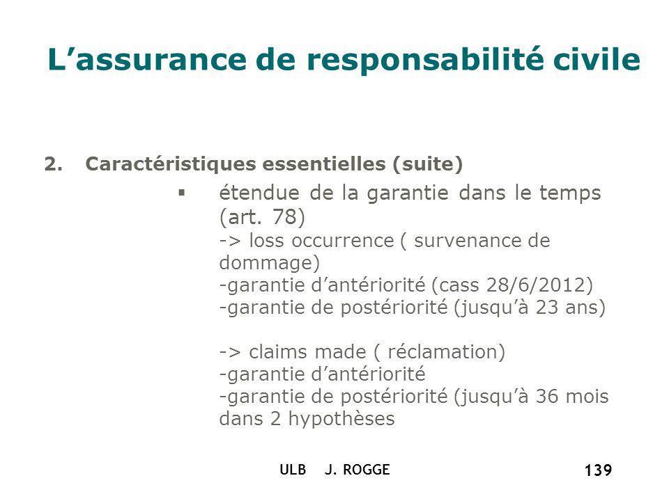 ULB J. ROGGE 139 Lassurance de responsabilité civile 2.Caractéristiques essentielles (suite) étendue de la garantie dans le temps (art. 78) -> loss oc
