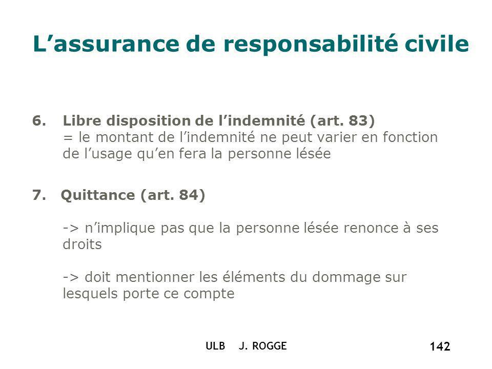 ULB J. ROGGE 142 Lassurance de responsabilité civile 6.Libre disposition de lindemnité (art. 83) = le montant de lindemnité ne peut varier en fonction