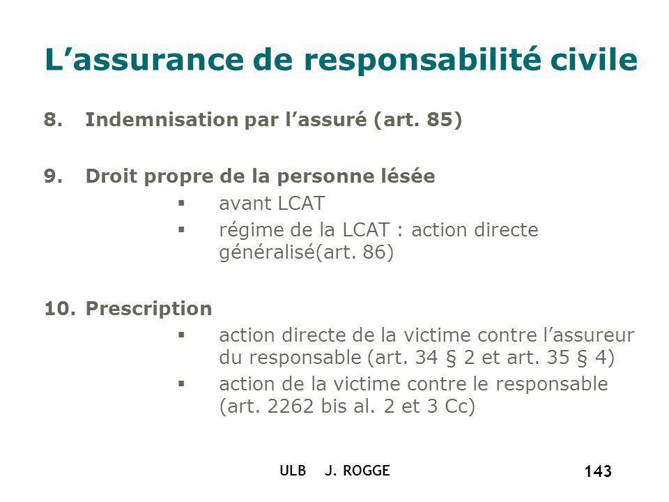 ULB J. ROGGE 143 Lassurance de responsabilité civile 8.Indemnisation par lassuré (art. 85) 9.Droit propre de la personne lésée avant LCAT régime de la