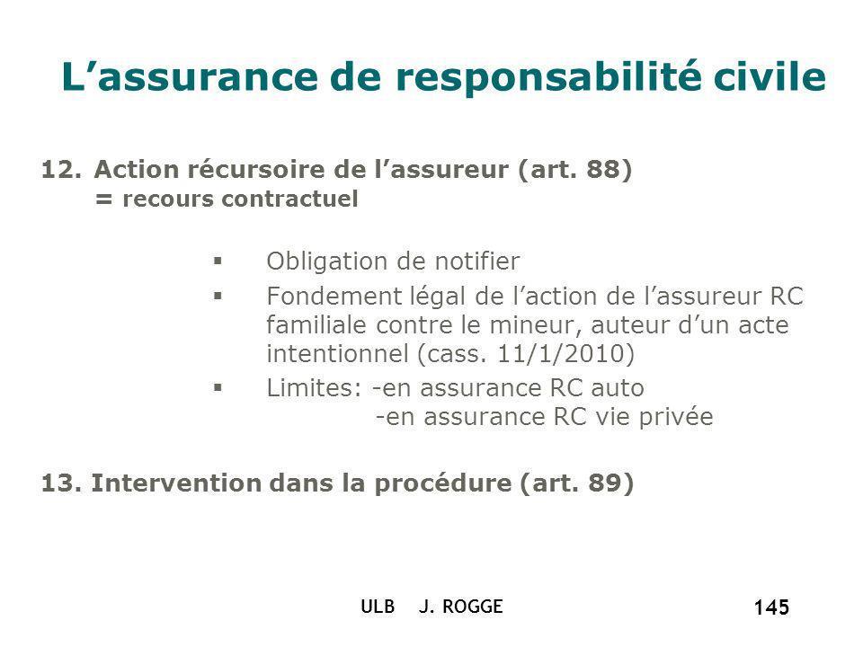 ULB J. ROGGE 145 Lassurance de responsabilité civile 12.Action récursoire de lassureur (art. 88) = recours contractuel Obligation de notifier Fondemen