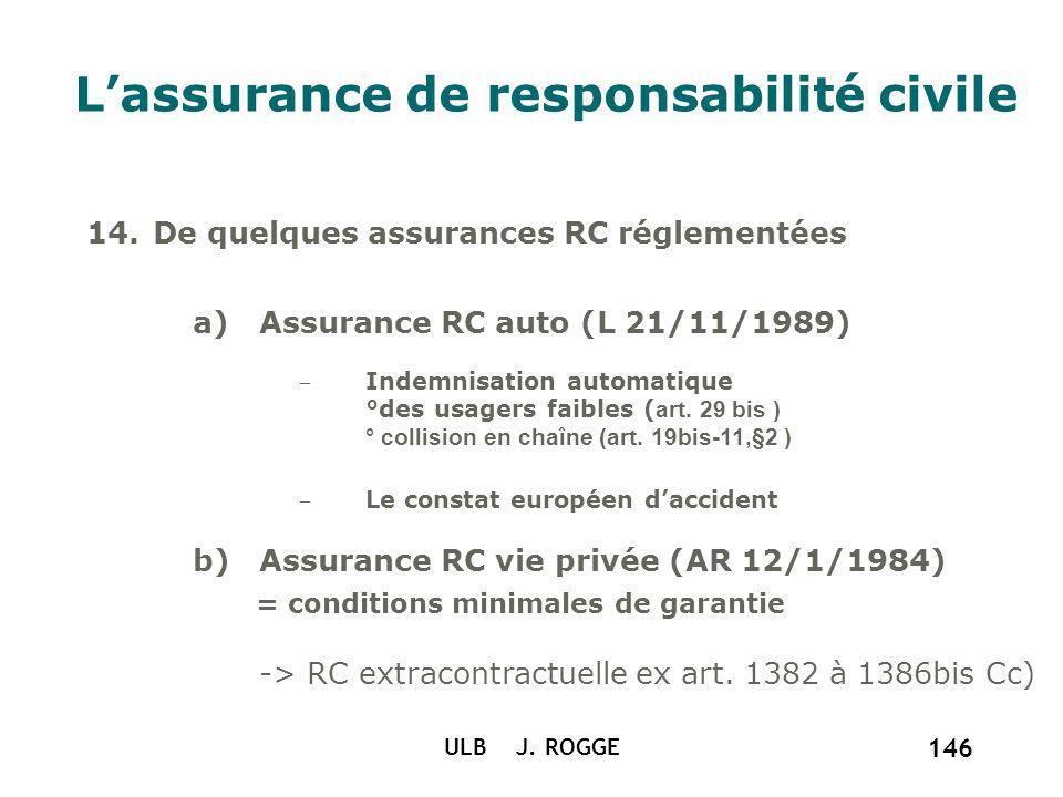 ULB J. ROGGE 146 Lassurance de responsabilité civile 14.De quelques assurances RC réglementées a)Assurance RC auto (L 21/11/1989) Indemnisation automa