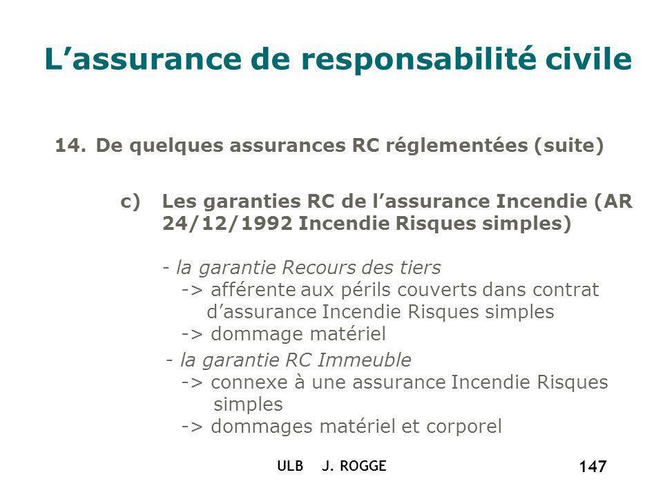 ULB J. ROGGE 147 Lassurance de responsabilité civile 14.De quelques assurances RC réglementées (suite) c)Les garanties RC de lassurance Incendie (AR 2