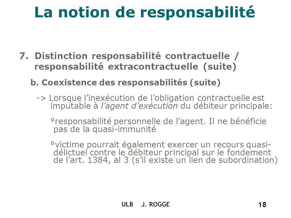 La notion de responsabilité 7. Distinction responsabilité contractuelle / responsabilité extracontractuelle (suite) b. Coexistence des responsabilités