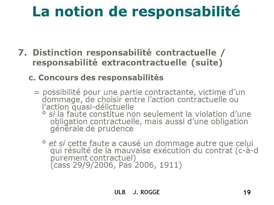 La notion de responsabilité 7. Distinction responsabilité contractuelle / responsabilité extracontractuelle (suite) c. Concours des responsabilités =