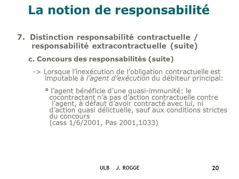 La notion de responsabilité 7. Distinction responsabilité contractuelle / responsabilité extracontractuelle (suite) c. Concours des responsabilités (s