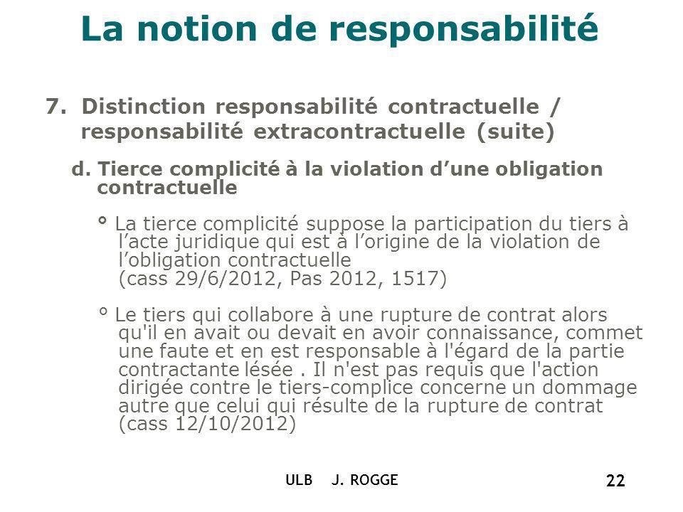 La notion de responsabilité 7. Distinction responsabilité contractuelle / responsabilité extracontractuelle (suite) d. Tierce complicité à la violatio