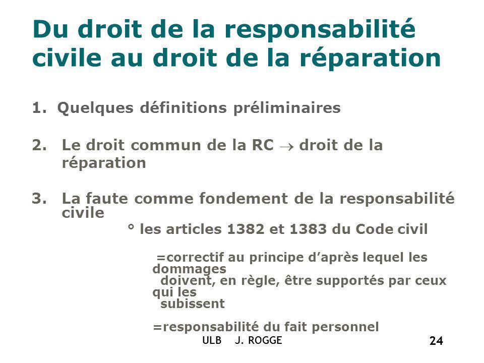 24 ULB J. ROGGE 24 Du droit de la responsabilité civile au droit de la réparation 1. Quelques définitions préliminaires 2.Le droit commun de la RC dro
