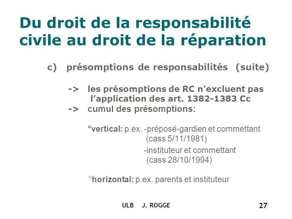 ULB J. ROGGE 27 Du droit de la responsabilité civile au droit de la réparation c) présomptions de responsabilités (suite) -> les présomptions de RC ne