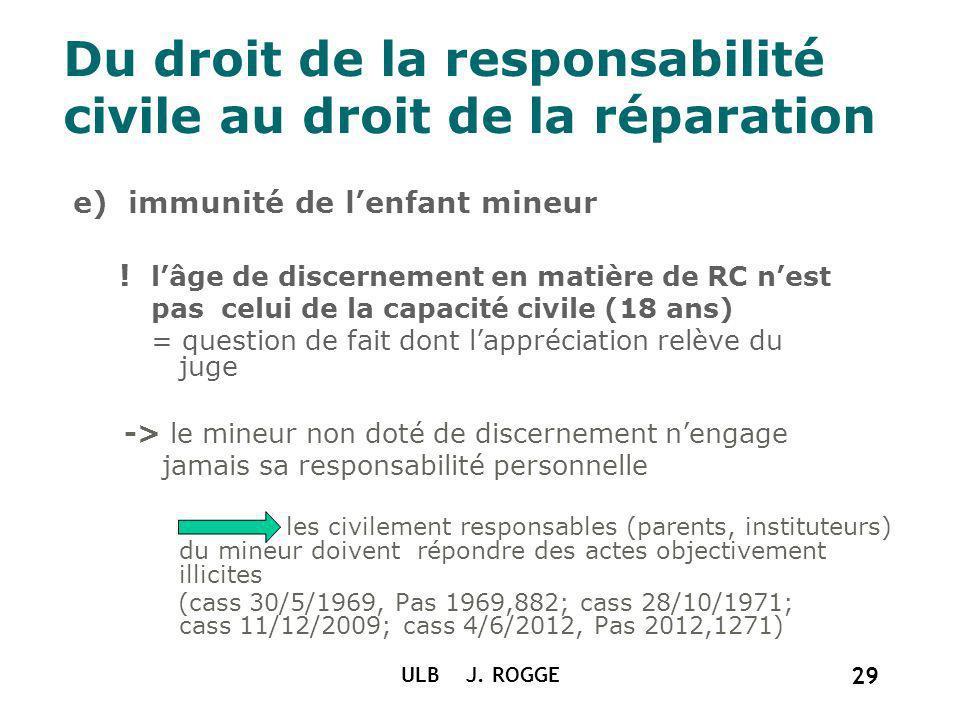 Du droit de la responsabilité civile au droit de la réparation e) immunité de lenfant mineur ! lâge de discernement en matière de RC nest pas celui de