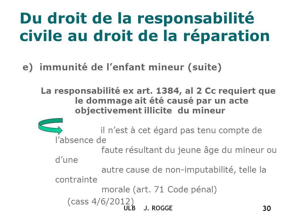 Du droit de la responsabilité civile au droit de la réparation e) immunité de lenfant mineur (suite) La responsabilité ex art. 1384, al 2 Cc requiert