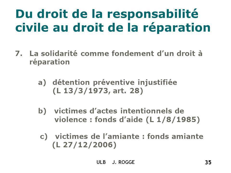 35 ULB J. ROGGE 35 Du droit de la responsabilité civile au droit de la réparation 7.La solidarité comme fondement dun droit à réparation a)détention p