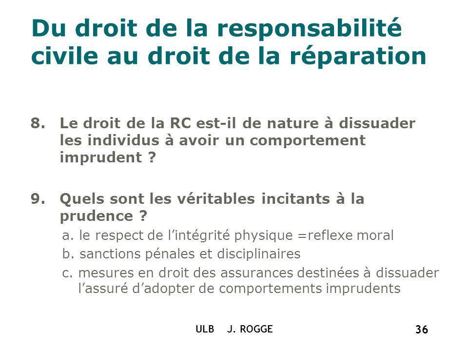 ULB J. ROGGE 36 Du droit de la responsabilité civile au droit de la réparation 8.Le droit de la RC est-il de nature à dissuader les individus à avoir