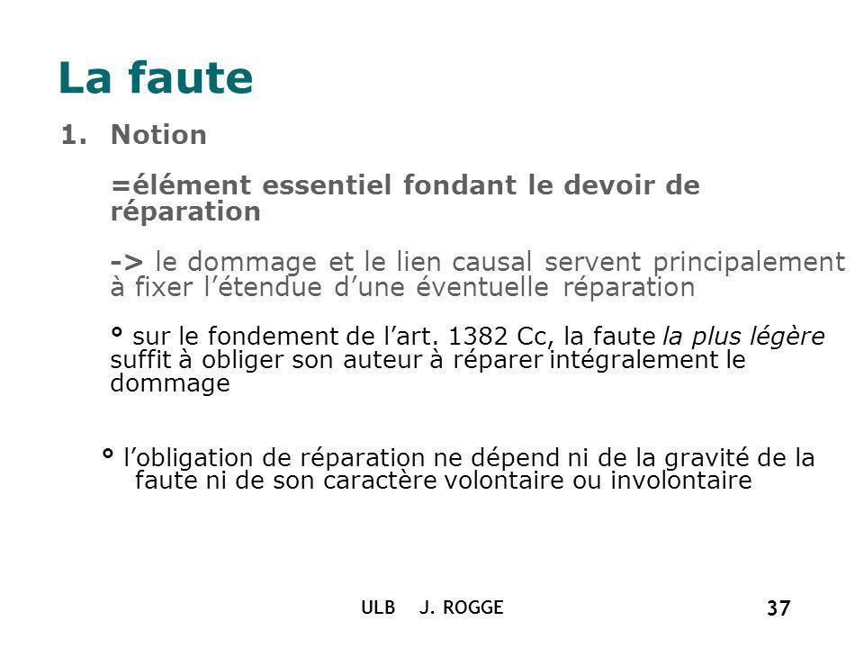 1.Notion =élément essentiel fondant le devoir de réparation -> le dommage et le lien causal servent principalement à fixer létendue dune éventuelle ré