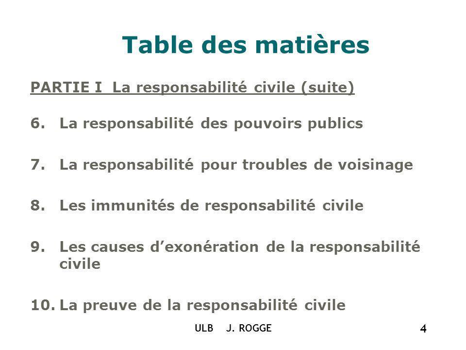 ULB J. ROGGE 4 Table des matières PARTIE I La responsabilité civile (suite) 6.La responsabilité des pouvoirs publics 7.La responsabilité pour troubles
