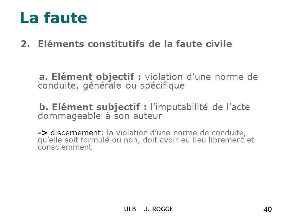 2.Eléments constitutifs de la faute civile a. Elément objectif : violation dune norme de conduite, générale ou spécifique b. Elément subjectif : limpu