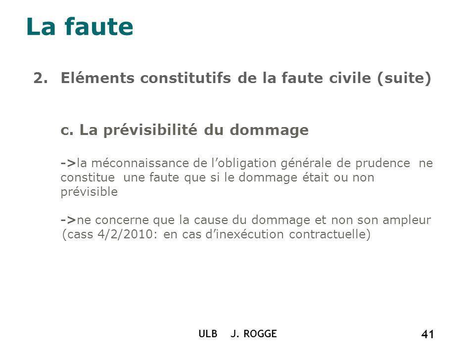 La faute 2.Eléments constitutifs de la faute civile (suite) c. La prévisibilité du dommage ->la méconnaissance de lobligation générale de prudence ne