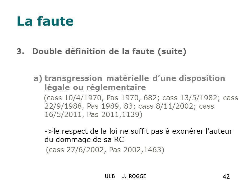 ULB J. ROGGE 42 La faute 3. Double définition de la faute (suite) a)transgression matérielle dune disposition légale ou réglementaire (cass 10/4/1970,