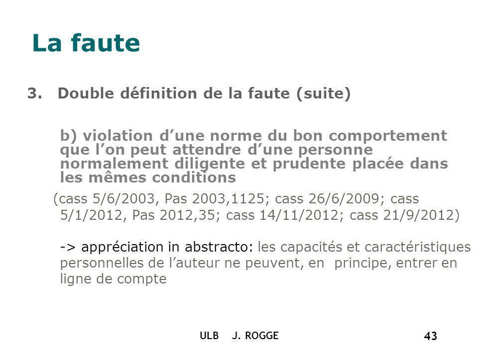 La faute 3. Double définition de la faute (suite) b) violation dune norme du bon comportement que lon peut attendre dune personne normalement diligent