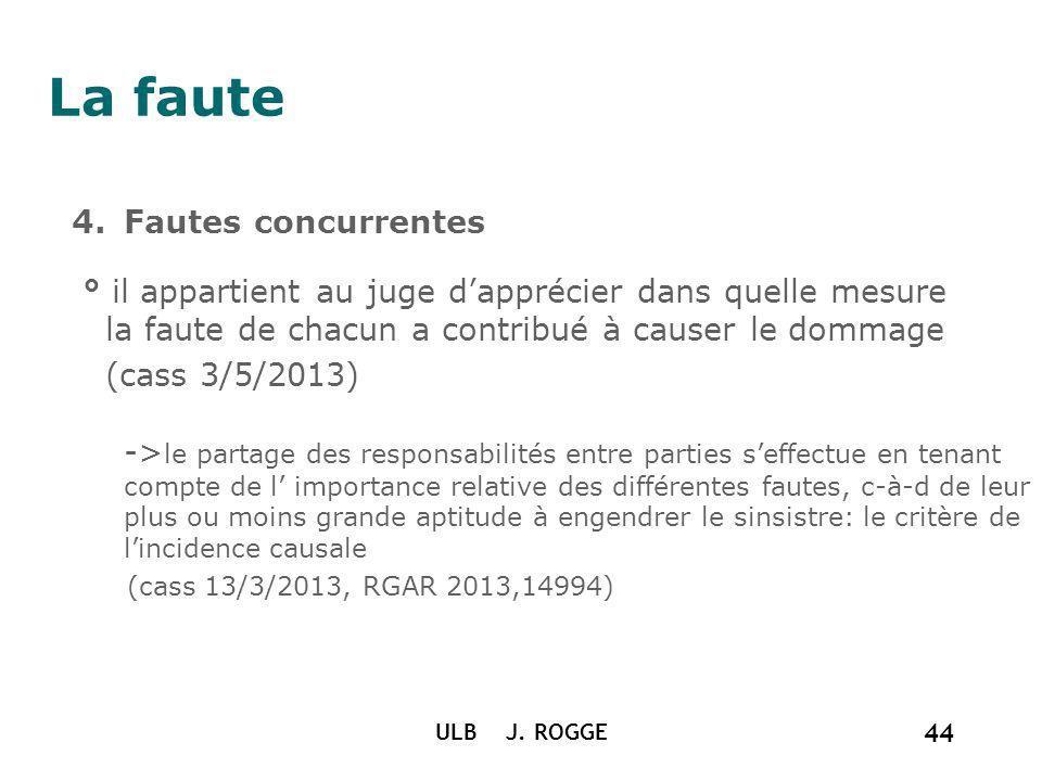 La faute 4.Fautes concurrentes ° il appartient au juge dapprécier dans quelle mesure la faute de chacun a contribué à causer le dommage (cass 3/5/2013