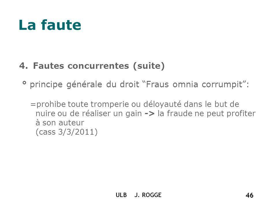 La faute 4.Fautes concurrentes (suite) ° principe générale du droit Fraus omnia corrumpit: =prohibe toute tromperie ou déloyauté dans le but de nuire
