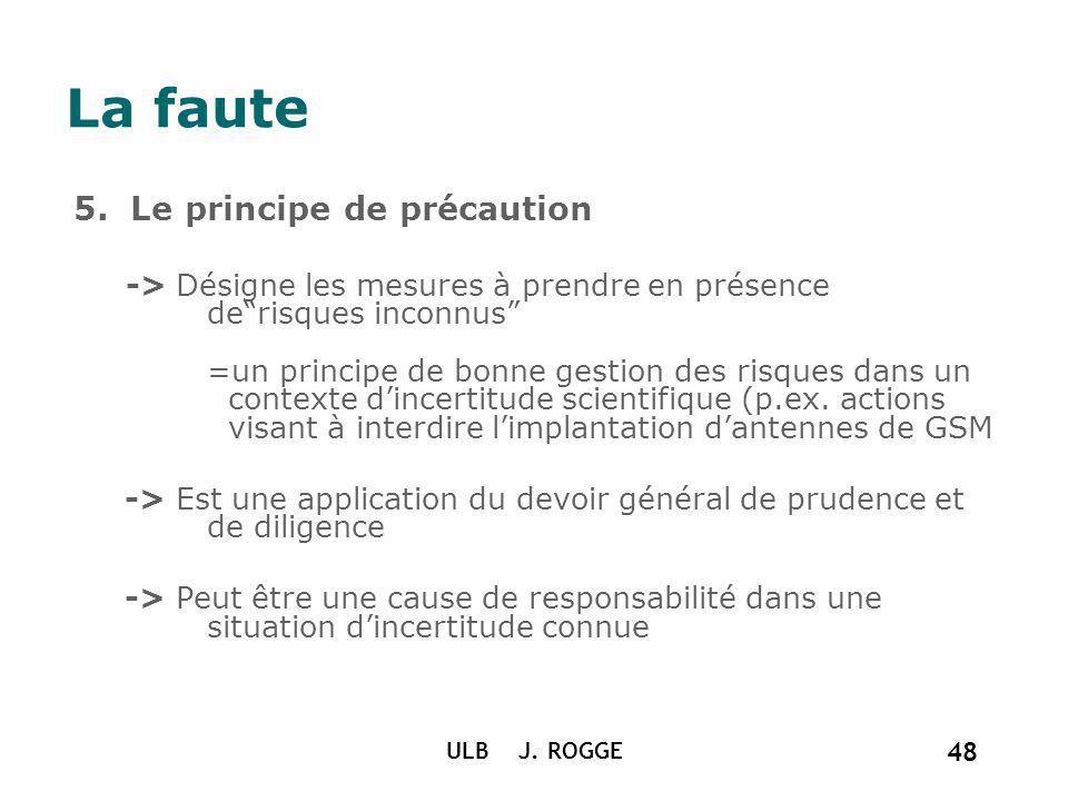 La faute 5. Le principe de précaution -> Désigne les mesures à prendre en présence derisques inconnus =un principe de bonne gestion des risques dans u