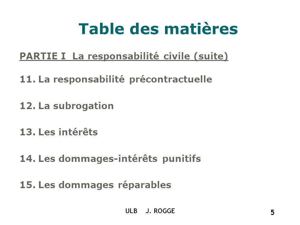 Table des matières PARTIE I La responsabilité civile (suite) 11.La responsabilité précontractuelle 12.La subrogation 13.Les intérêts 14.Les dommages-i
