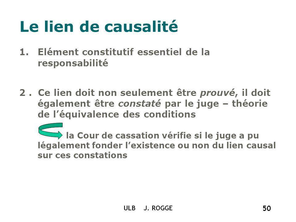 ULB J. ROGGE 50 Le lien de causalité 1.Elément constitutif essentiel de la responsabilité 2. Ce lien doit non seulement être prouvé, il doit également