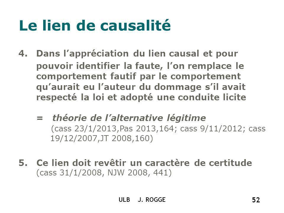 ULB J. ROGGE 52 Le lien de causalité 4.Dans lappréciation du lien causal et pour pouvoir identifier la faute, lon remplace le comportement fautif par