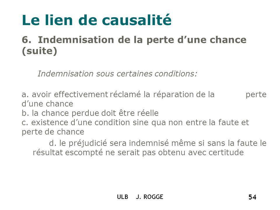 Le lien de causalité ULB J. ROGGE 54 6. Indemnisation de la perte dune chance (suite) Indemnisation sous certaines conditions: a. avoir effectivement
