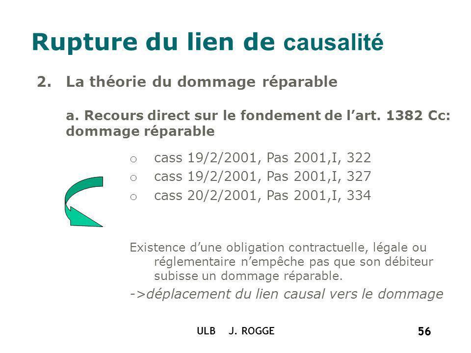 56 ULB J. ROGGE 56 Rupture du lien de causalité 2.La théorie du dommage réparable a. Recours direct sur le fondement de lart. 1382 Cc: dommage réparab