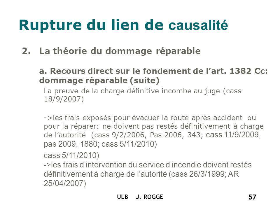 57 ULB J. ROGGE 57 Rupture du lien de causalité 2.La théorie du dommage réparable a. Recours direct sur le fondement de lart. 1382 Cc: dommage réparab