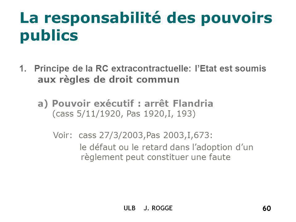 60 ULB J. ROGGE 60 La responsabilité des pouvoirs publics 1. Principe de la RC extracontractuelle: lEtat est soumis aux règles de droit commun a) Pouv