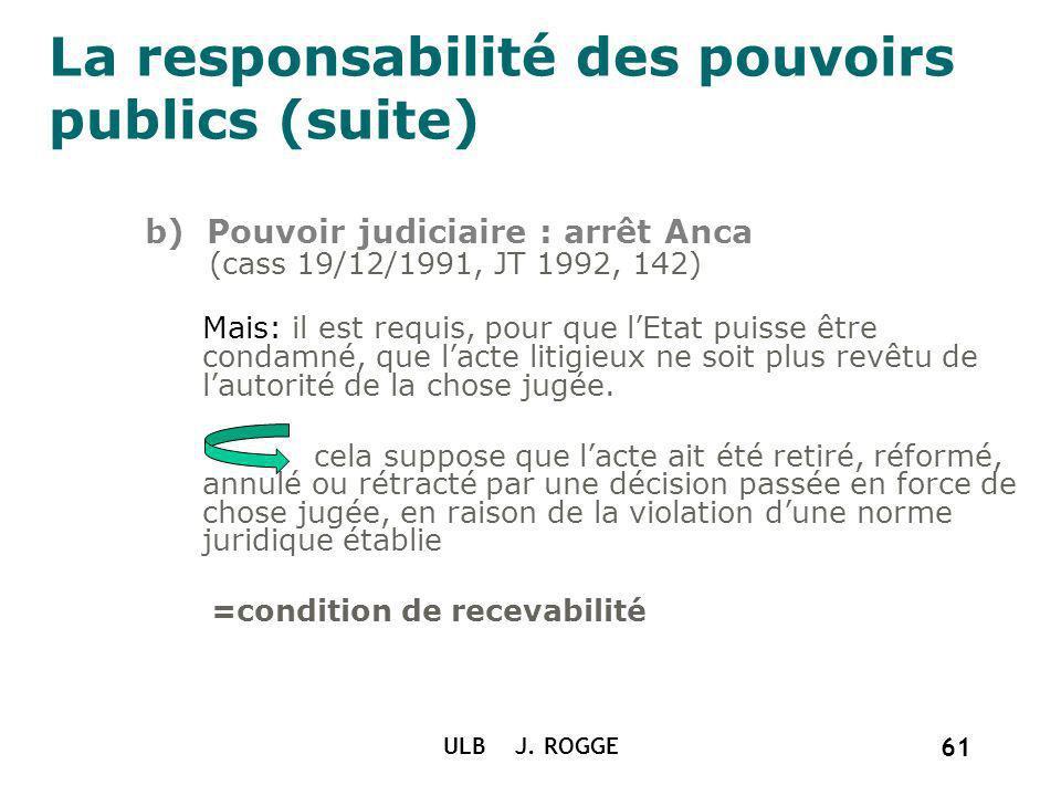 La responsabilité des pouvoirs publics (suite) b) Pouvoir judiciaire : arrêt Anca (cass 19/12/1991, JT 1992, 142) Mais: il est requis, pour que lEtat