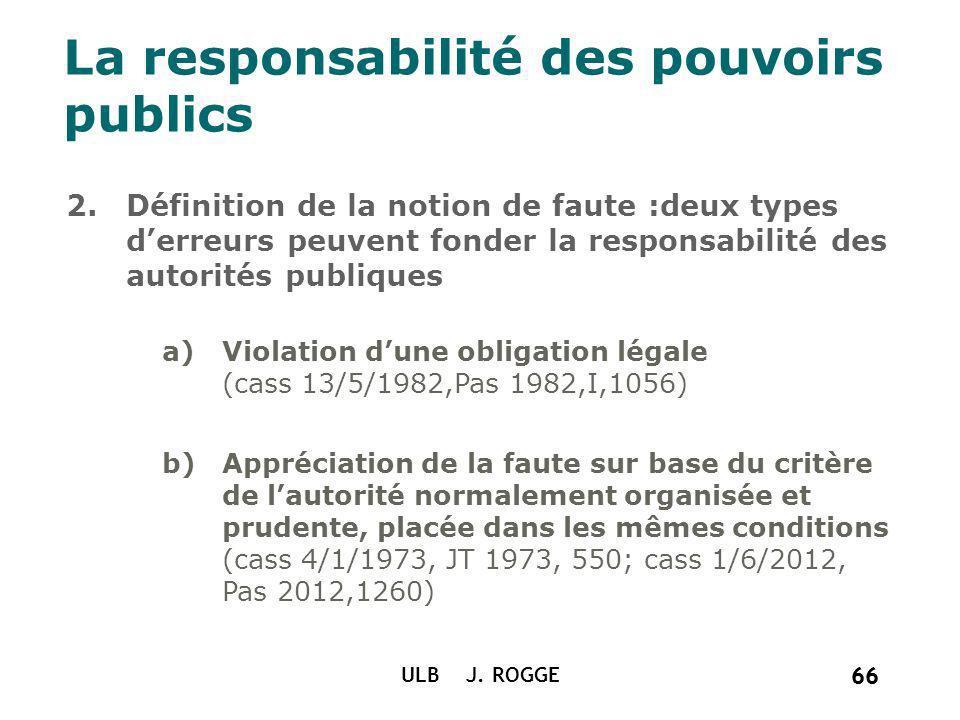 66 ULB J. ROGGE 66 La responsabilité des pouvoirs publics 2.Définition de la notion de faute :deux types derreurs peuvent fonder la responsabilité des