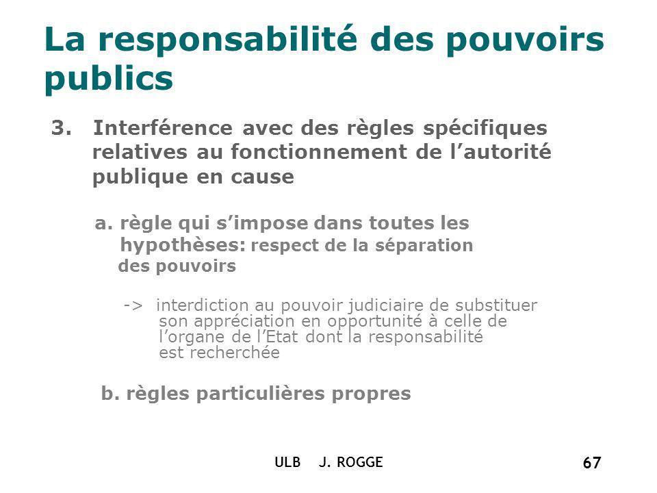 La responsabilité des pouvoirs publics 3. Interférence avec des règles spécifiques relatives au fonctionnement de lautorité publique en cause a. règle