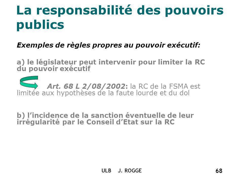 La responsabilité des pouvoirs publics Exemples de règles propres au pouvoir exécutif: a) le législateur peut intervenir pour limiter la RC du pouvoir