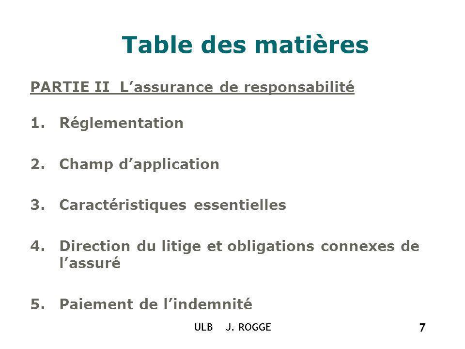 ULB J. ROGGE 7 Table des matières PARTIE II Lassurance de responsabilité 1.Réglementation 2.Champ dapplication 3.Caractéristiques essentielles 4.Direc