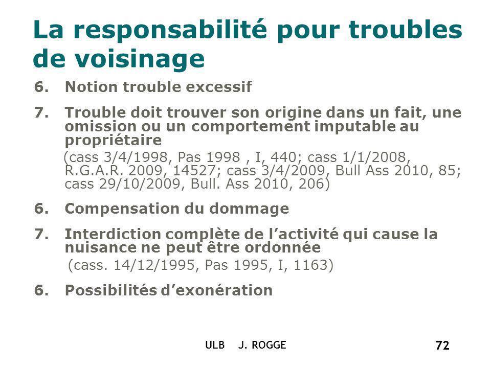 72 ULB J. ROGGE 72 La responsabilité pour troubles de voisinage 6.Notion trouble excessif 7.Trouble doit trouver son origine dans un fait, une omissio