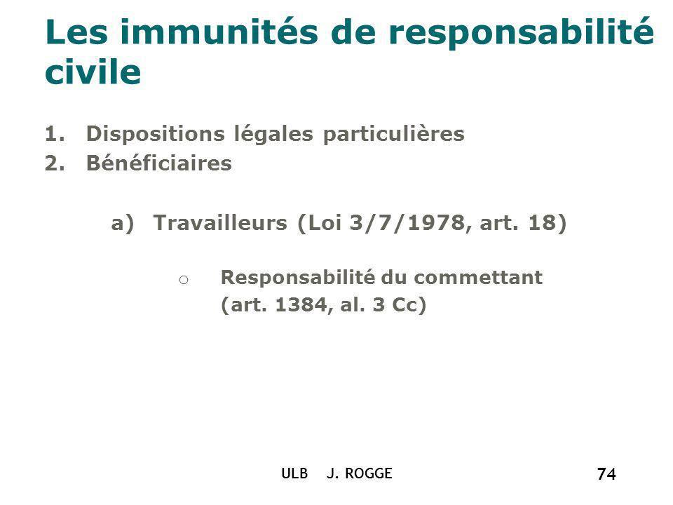 ULB J. ROGGE 74 Les immunités de responsabilité civile 1.Dispositions légales particulières 2.Bénéficiaires a)Travailleurs (Loi 3/7/1978, art. 18) o R