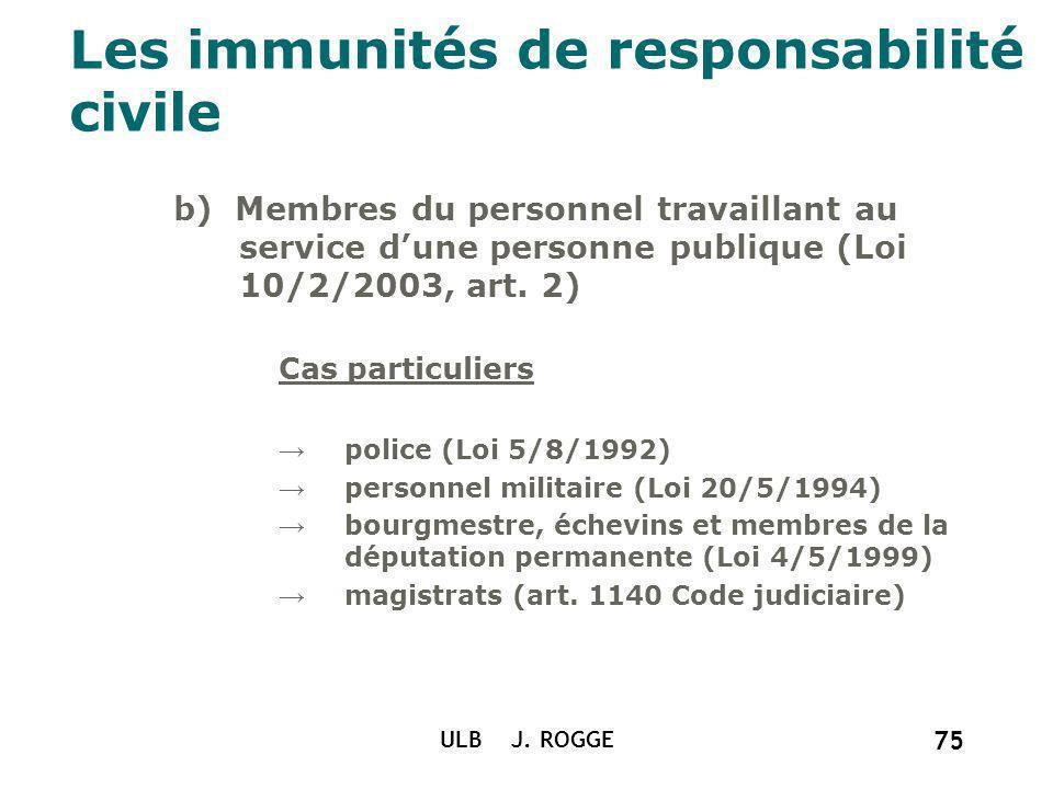 ULB J. ROGGE 75 Les immunités de responsabilité civile b) Membres du personnel travaillant au service dune personne publique (Loi 10/2/2003, art. 2) C