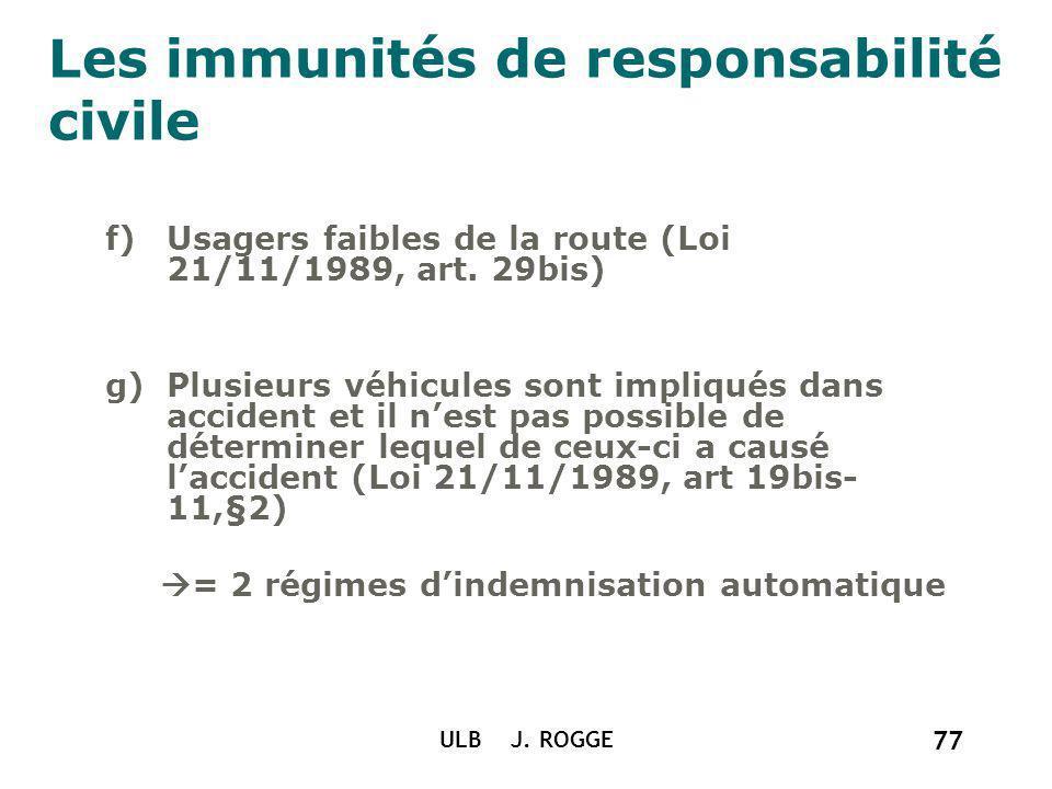 Les immunités de responsabilité civile f)Usagers faibles de la route (Loi 21/11/1989, art. 29bis) g)Plusieurs véhicules sont impliqués dans accident e